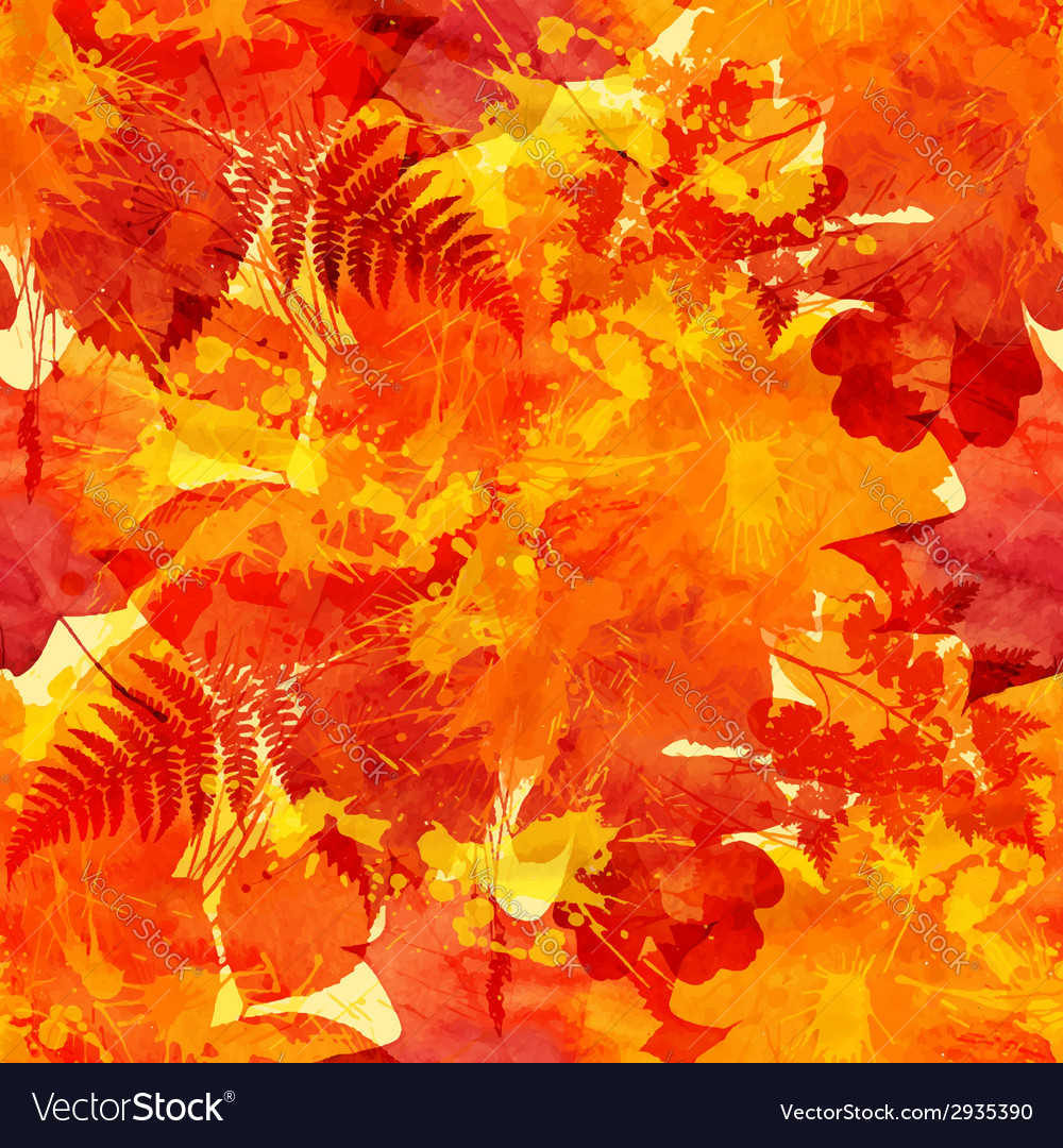 Orange autumn leaves seamless pattern