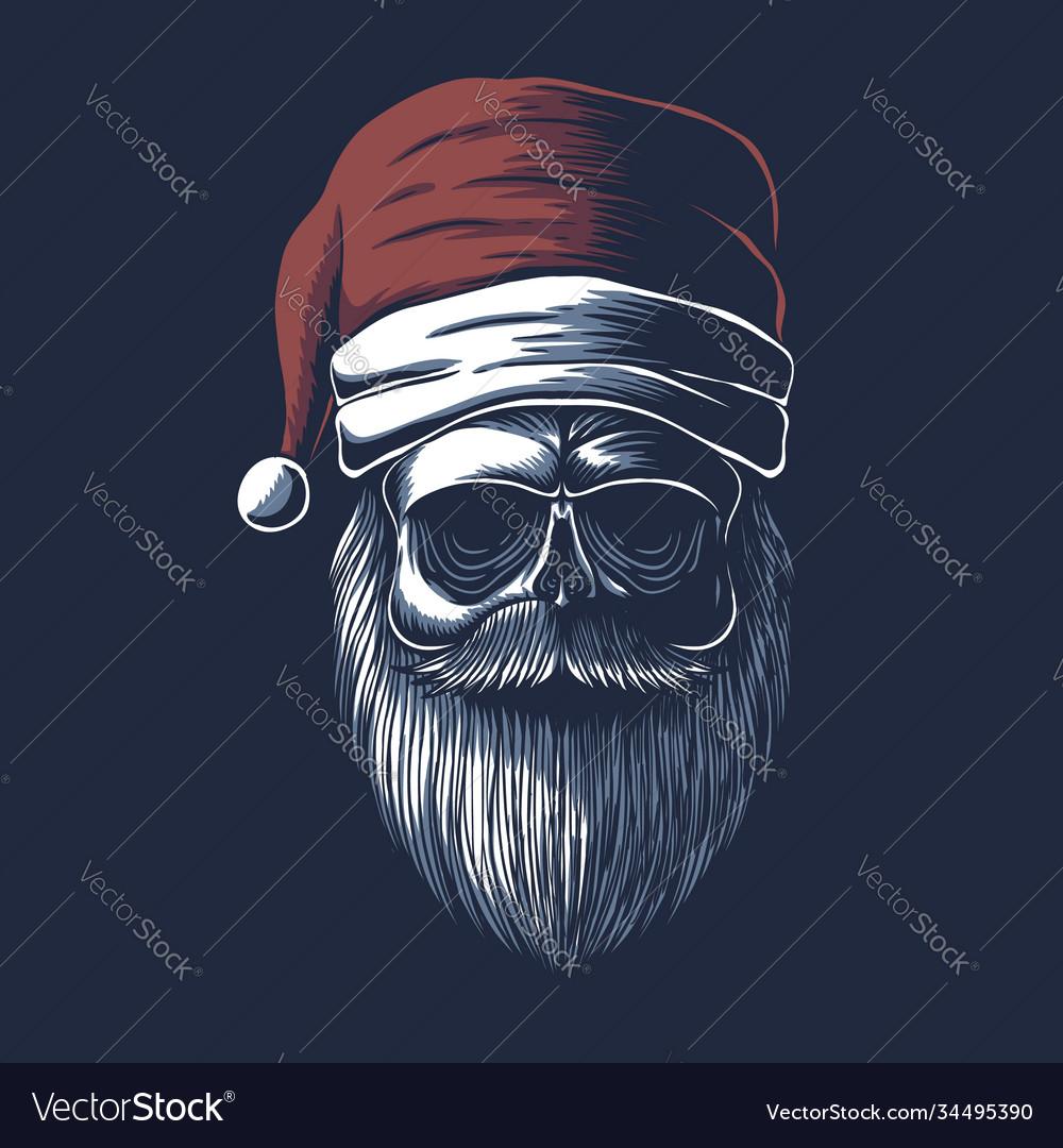 Skull wearing a santa hat for christmas