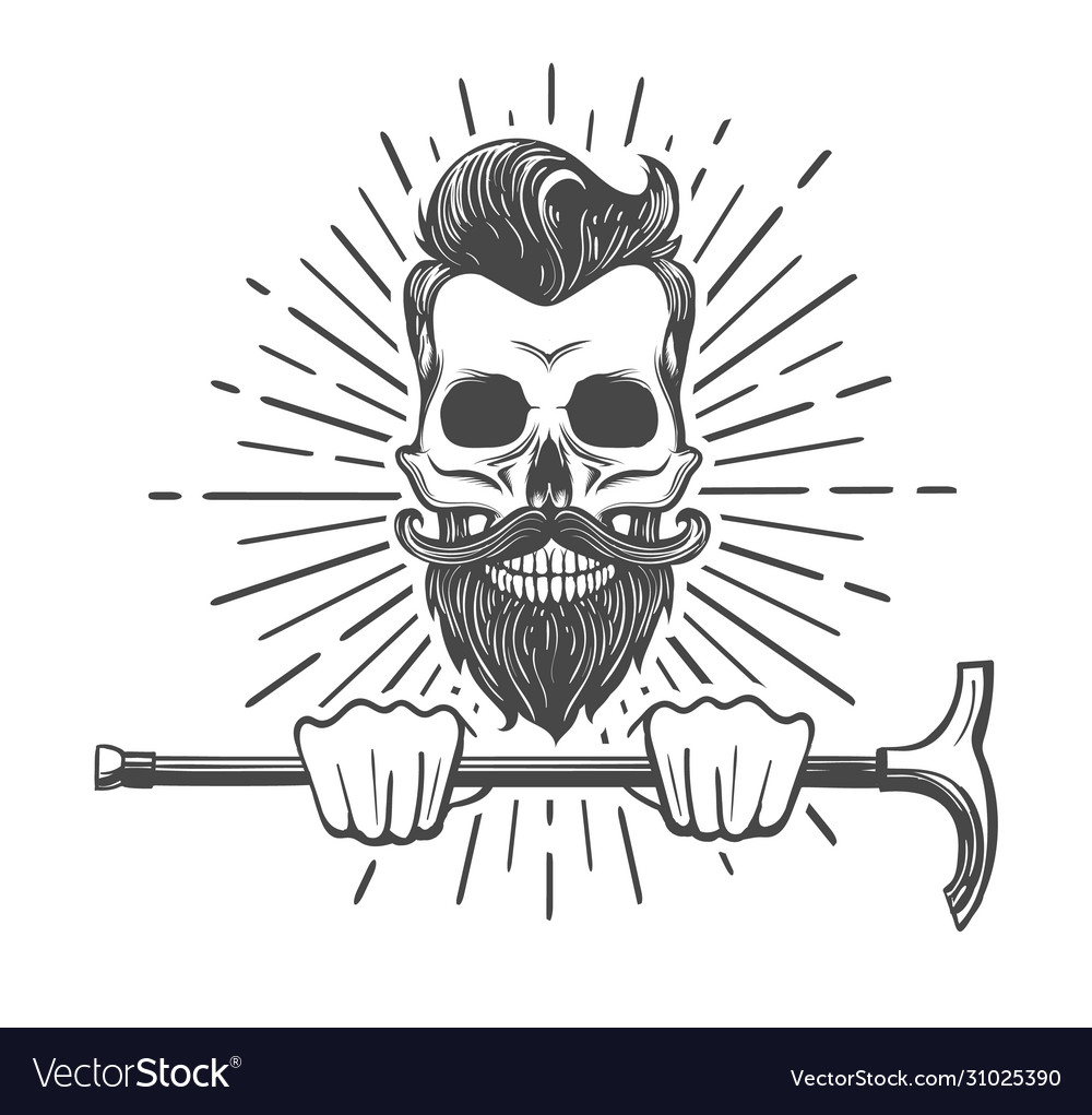 Skull with beard and walking stick