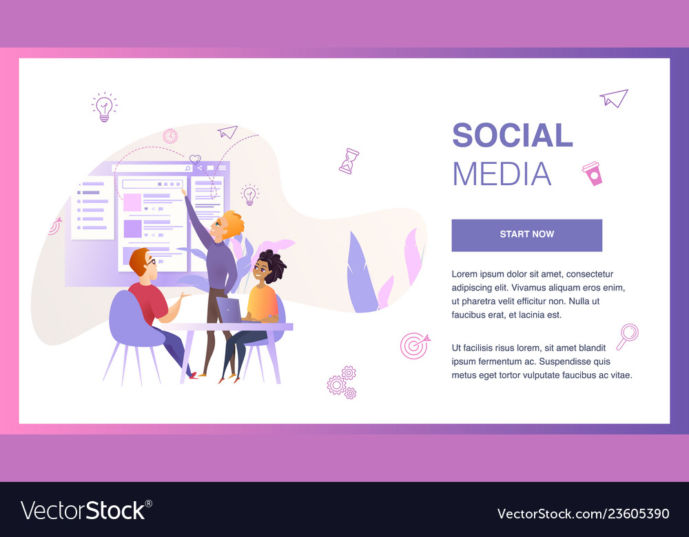 Social media interface wireframe develop banner