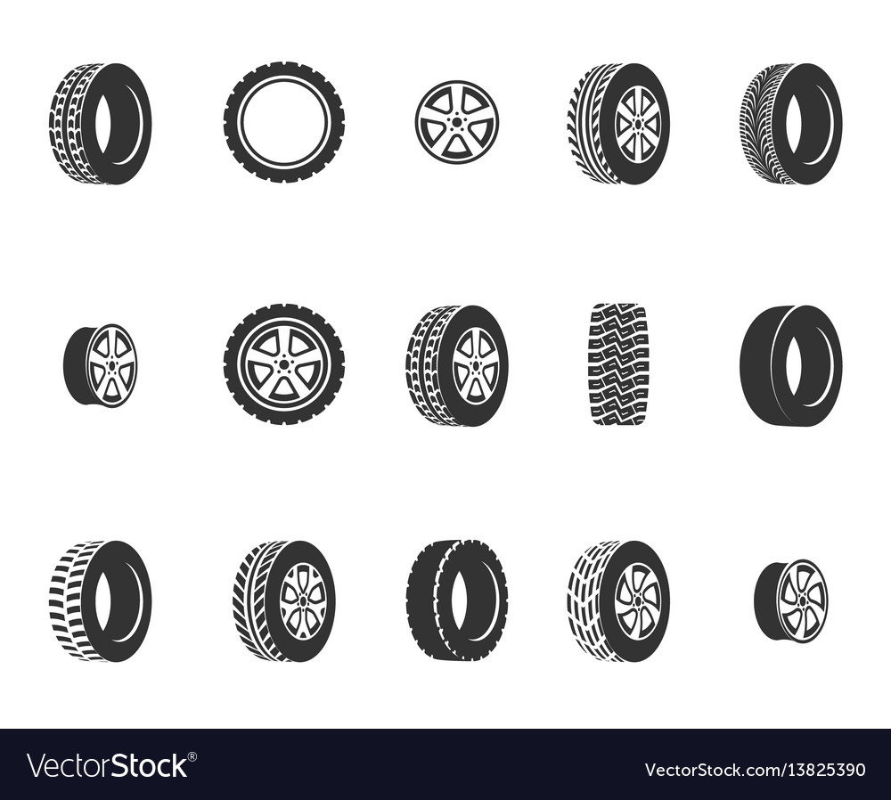 Tires wheel disks auto service icons