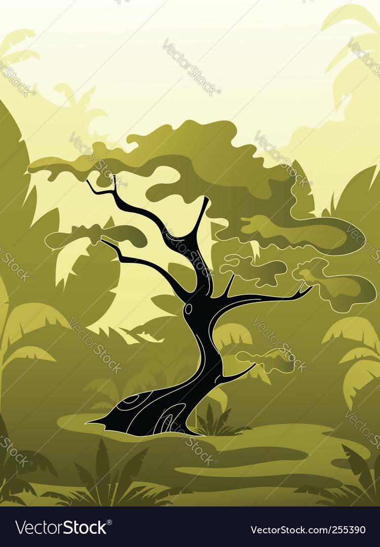 Tree in jungle vector image