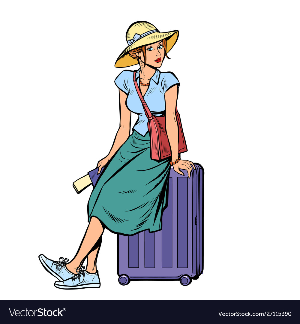 Woman tourist sitting on a travel suitcase