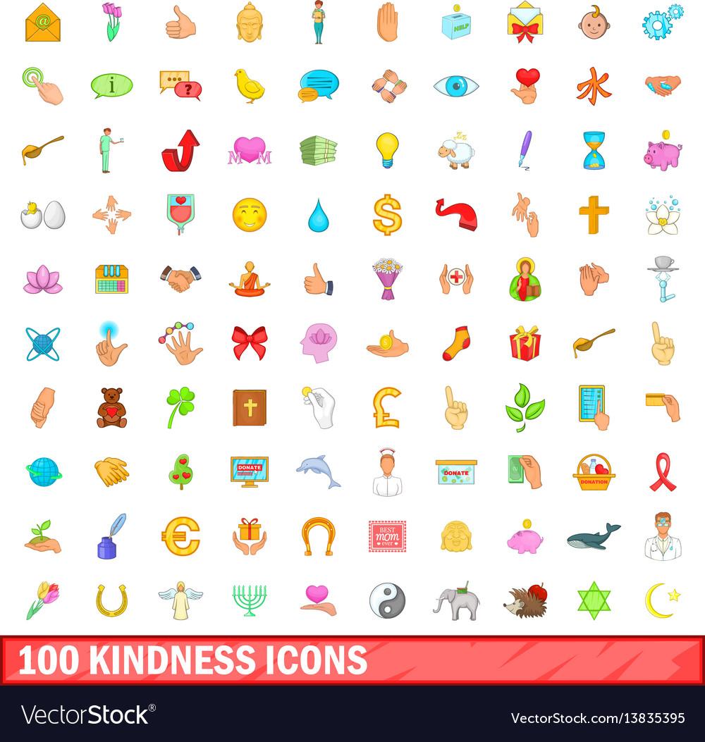 100 kindness icons set cartoon style