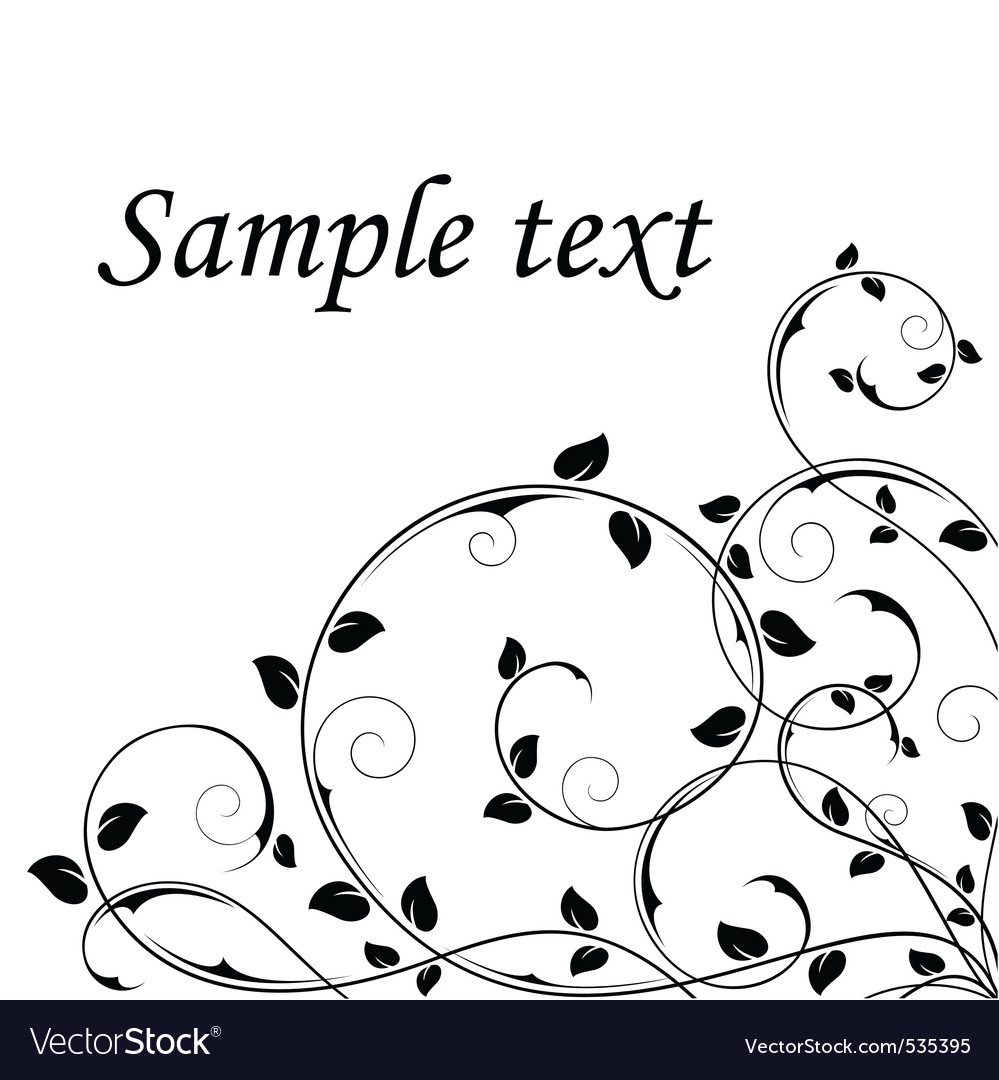 Abstract Floral Background Black And White Vector Image
