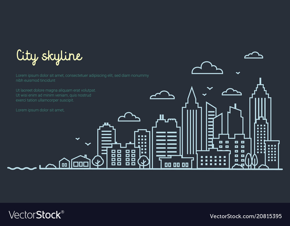 City landscape template thin line night city