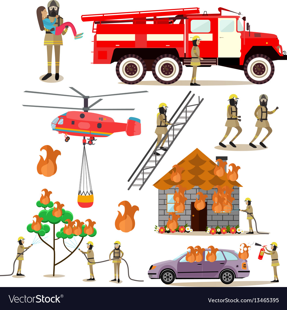 Flat icons set of firefighter profession