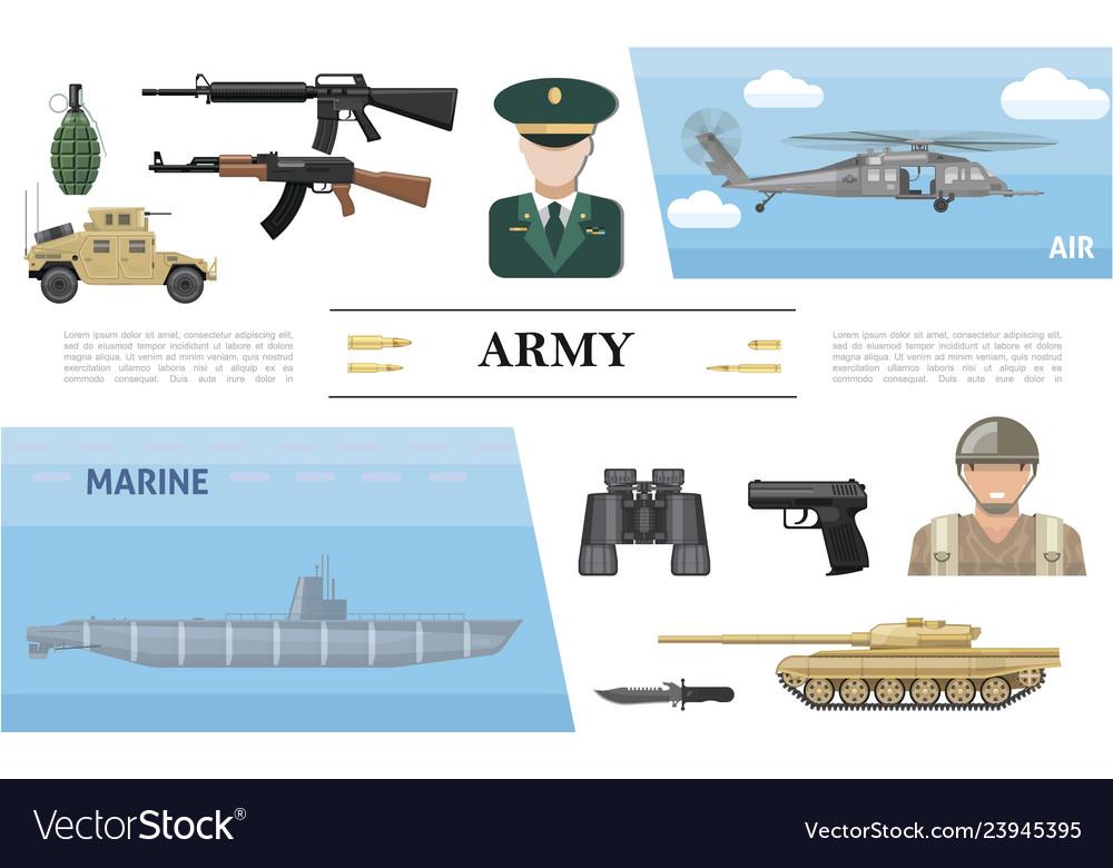Flat military elements concept