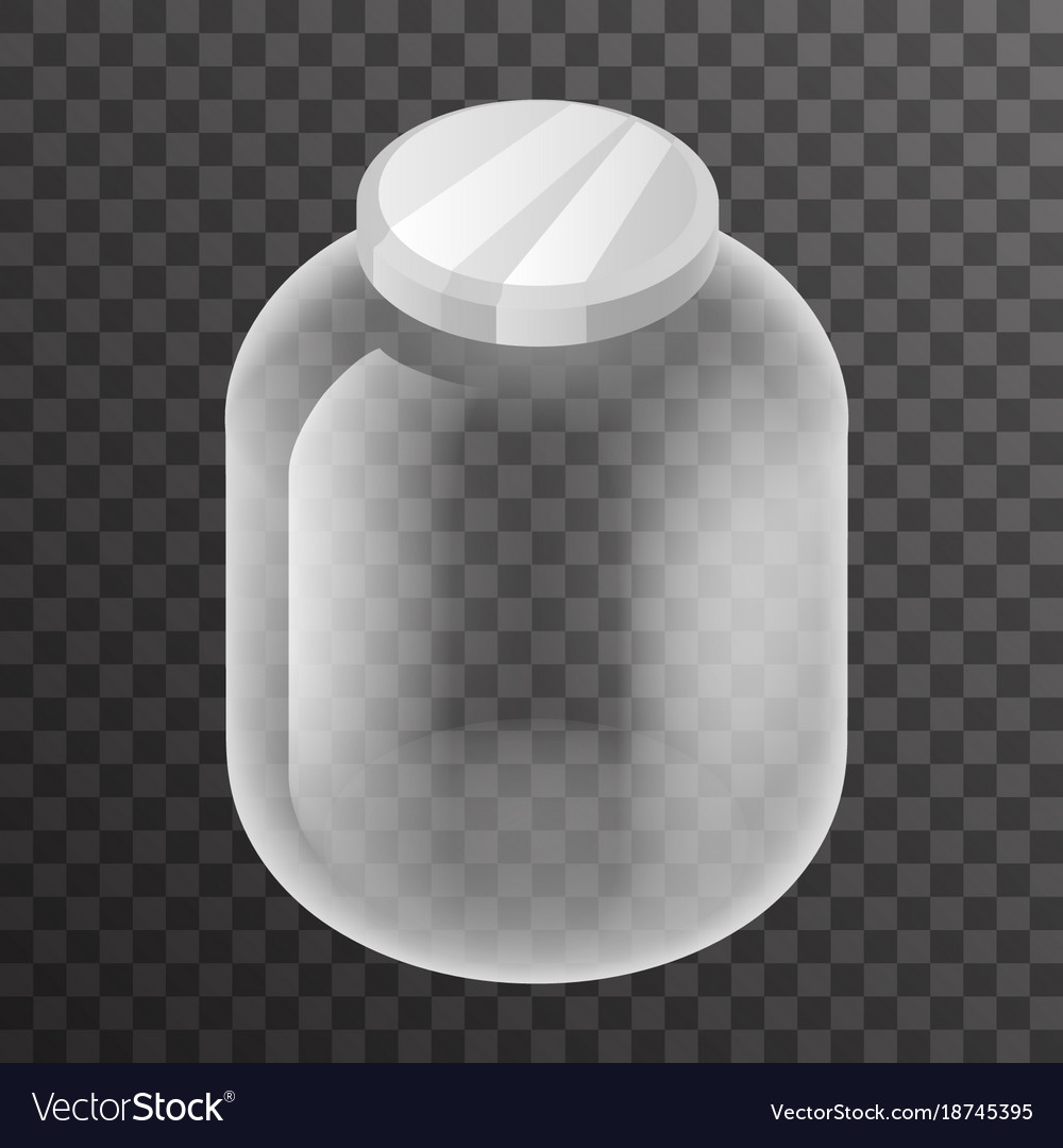 Isometric empty glass pot jar sign transparent vector image
