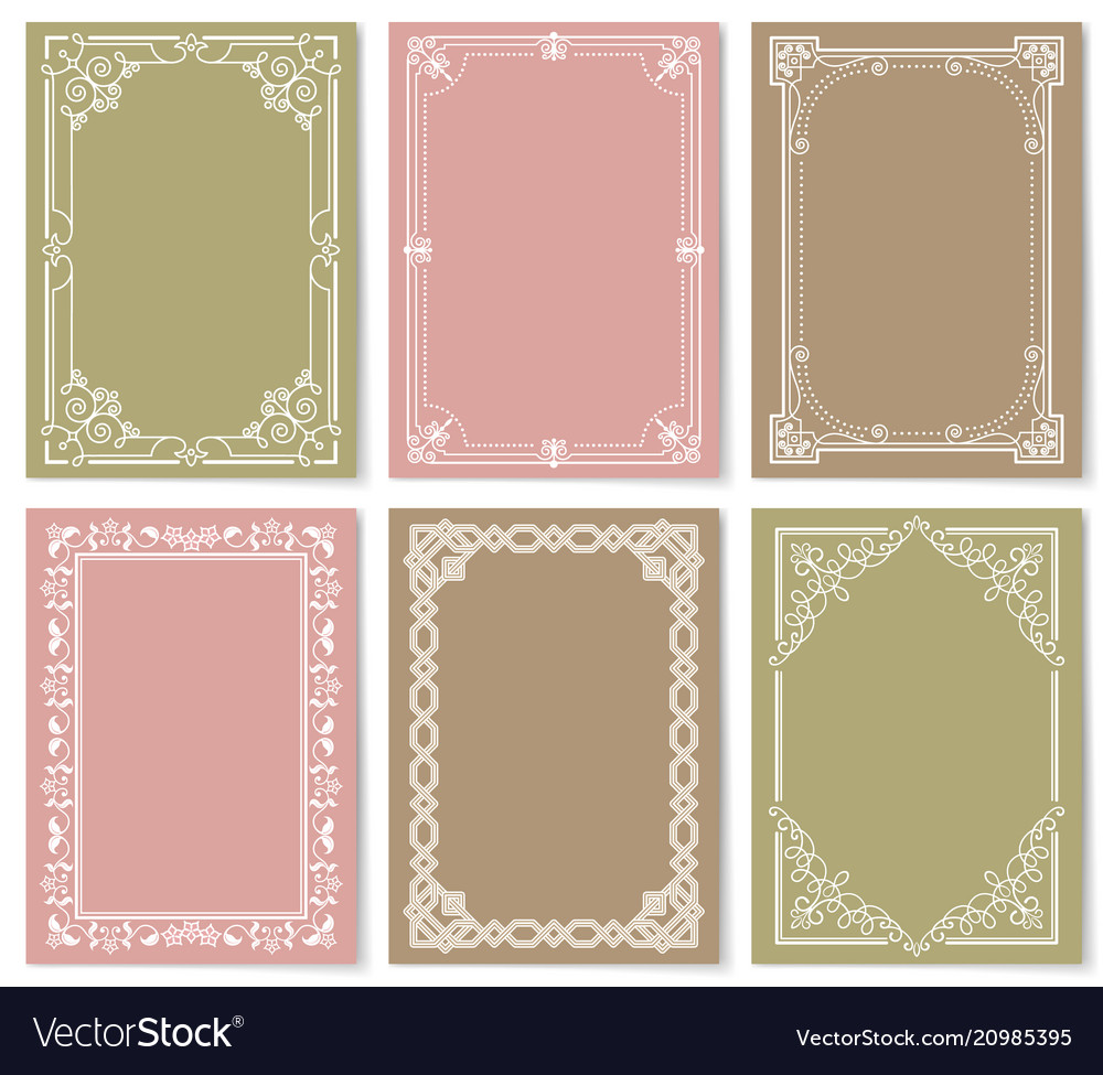 Retro style vintage frames set ornamental graphic vector image