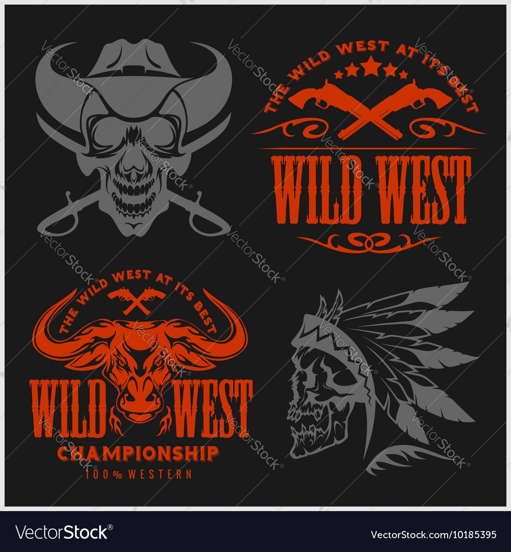 Set of vintage cowboy emblems labels badges