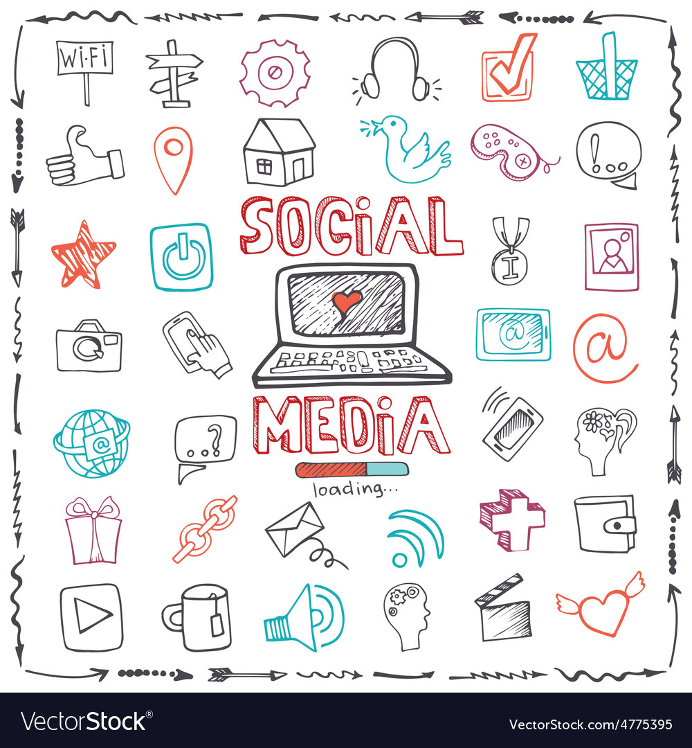 Social Media Word and Icon setDoodle sketchy