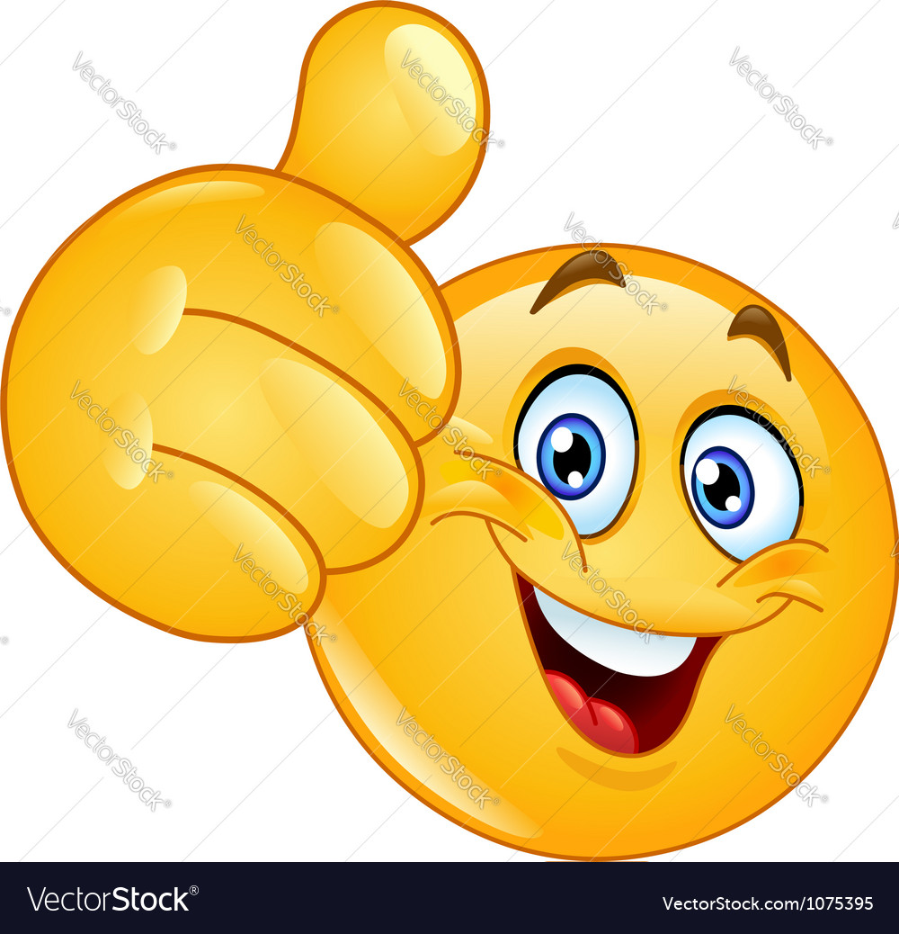 Thumb up emoticon vector image