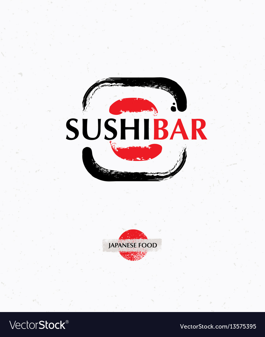 Trendy brush sushi logo creative sushi bar