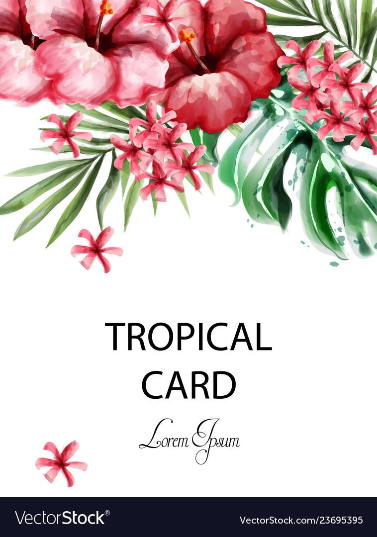 Tropic flowers card watercolor delicate