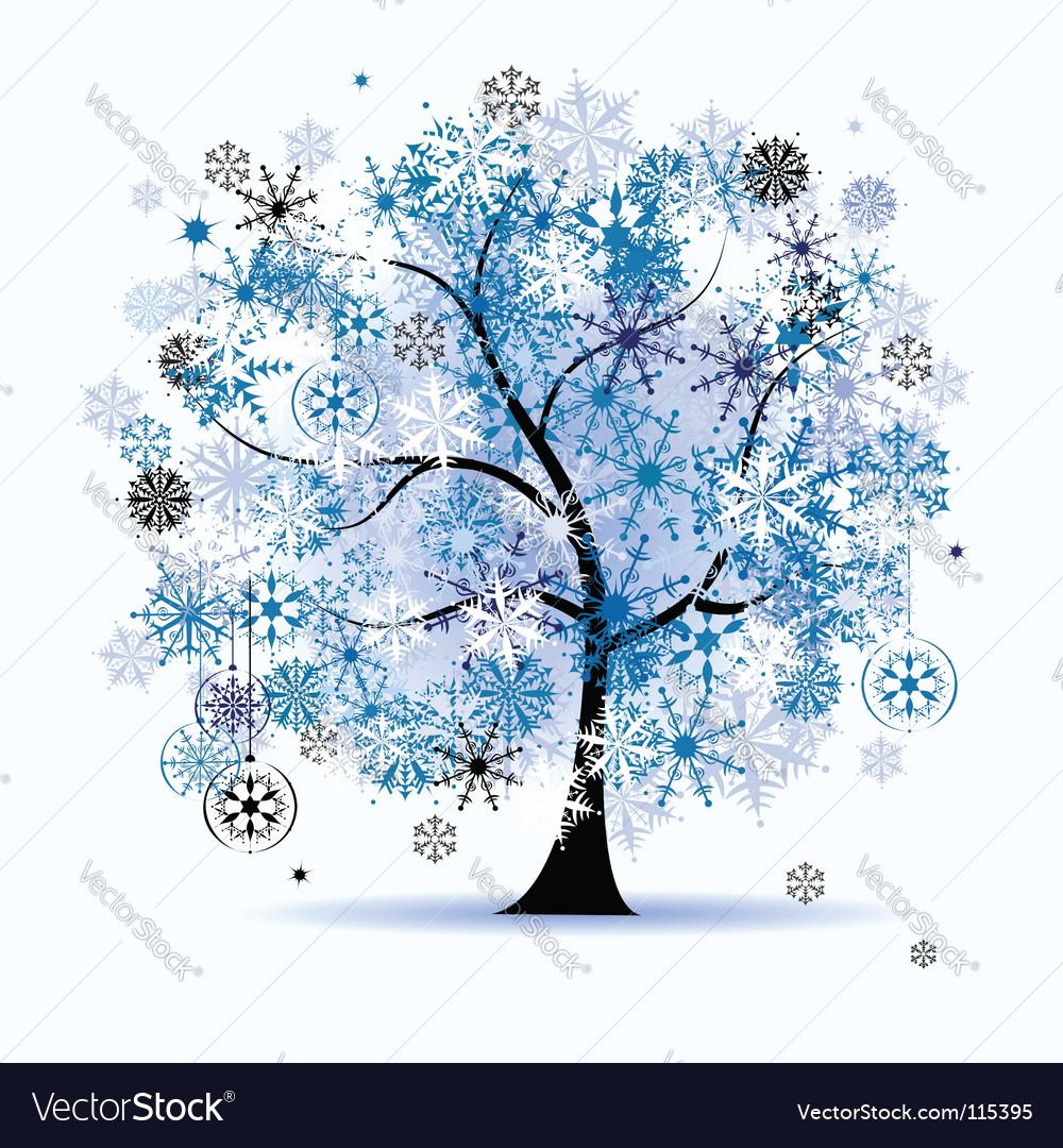 Winter Tree Snowflakes Christmas Vector Image