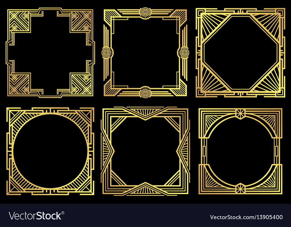Swell Art Deco Nouveau Border Frames In 1920S Style Download Free Architecture Designs Grimeyleaguecom