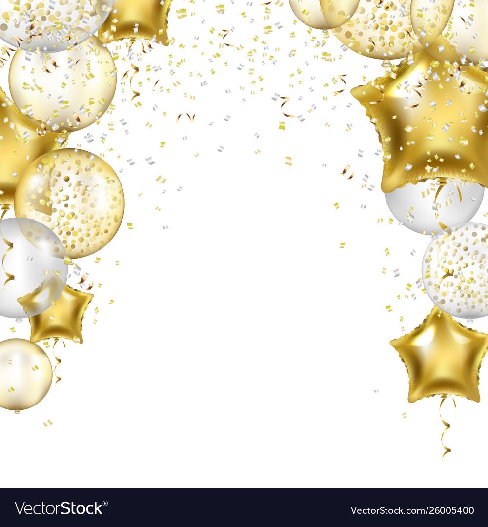 Birthday border with golden star balloons