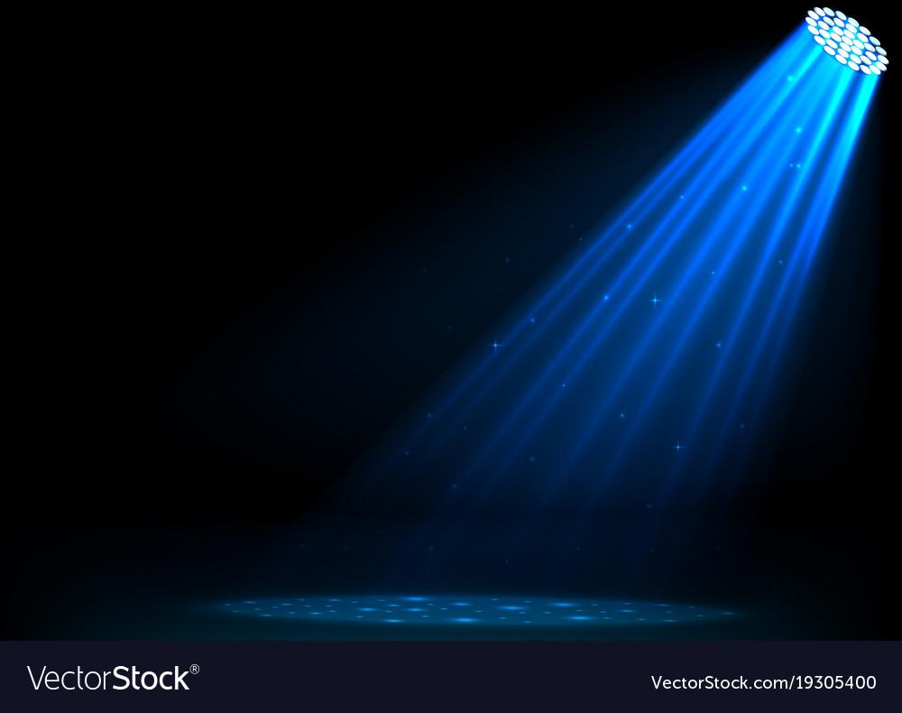 Blue spotlights on dark background vector image