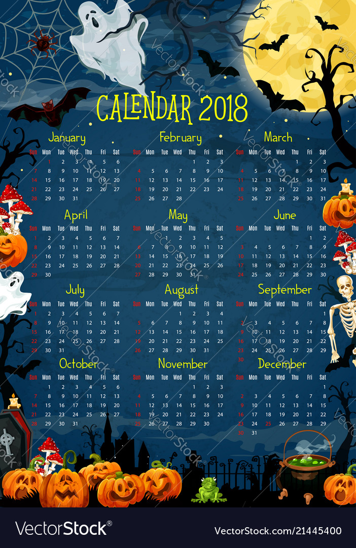 Calendar with halloween holiday pumpkin and ghost
