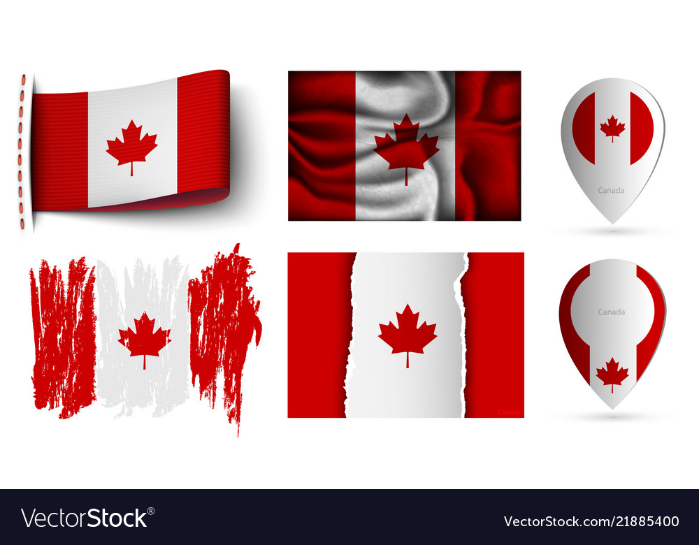 Canada flags collection isolated on white