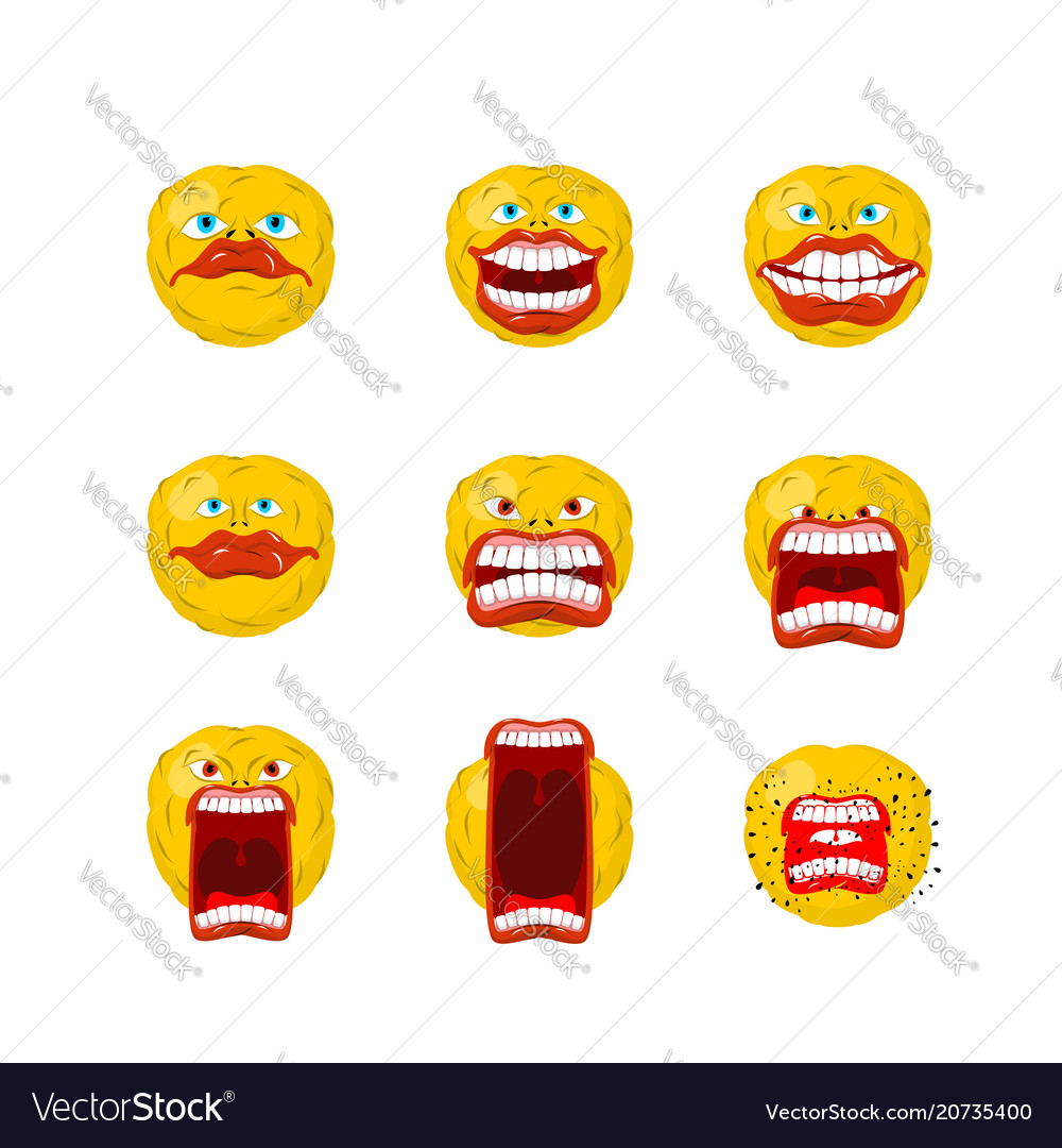 Emoticon set open mouth and teeth crazy emoji