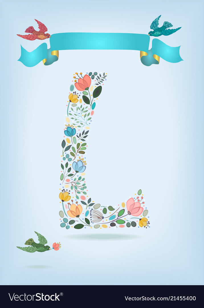 Floral letter l with blue ribbon and three doves