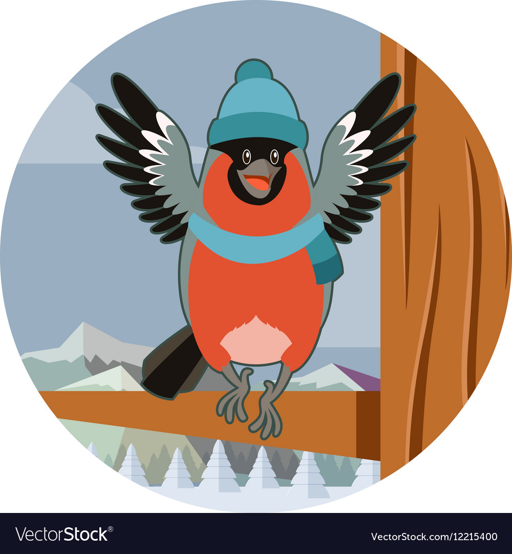 Happy Bullfinch with Hat on the winter background