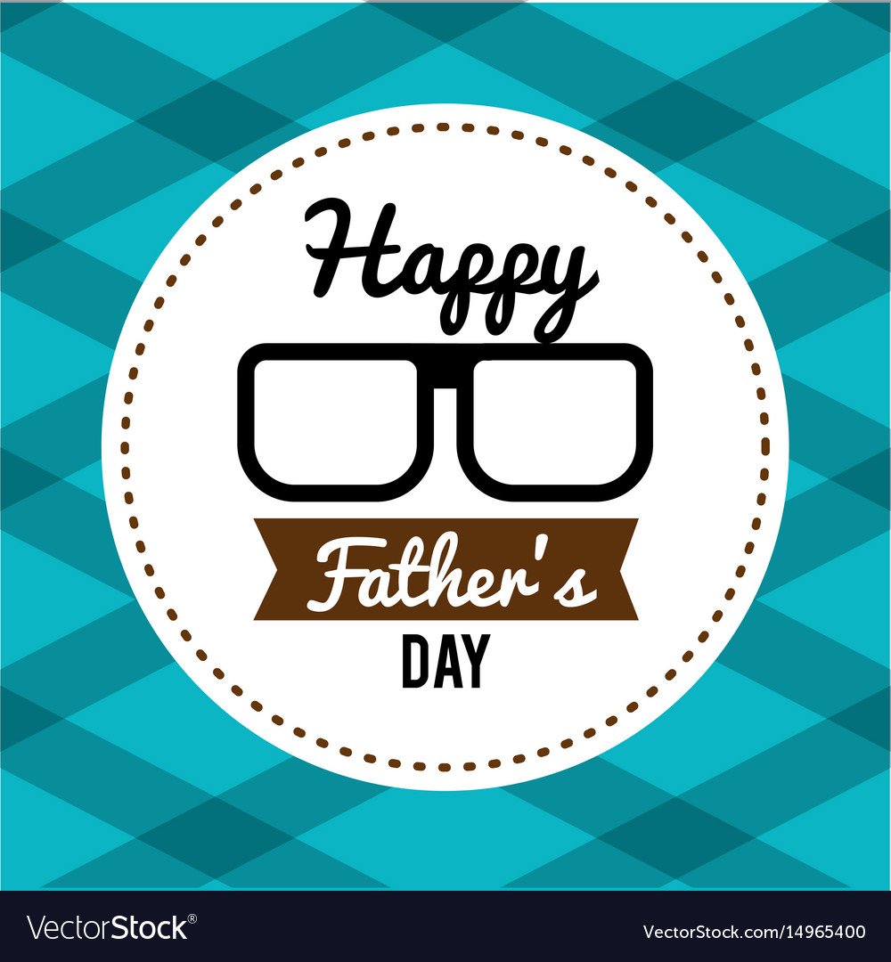 Happy father day card with glasses and ribbon