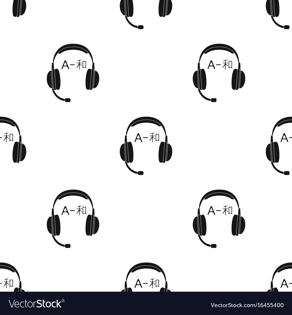 Headphones with translator icon in black style