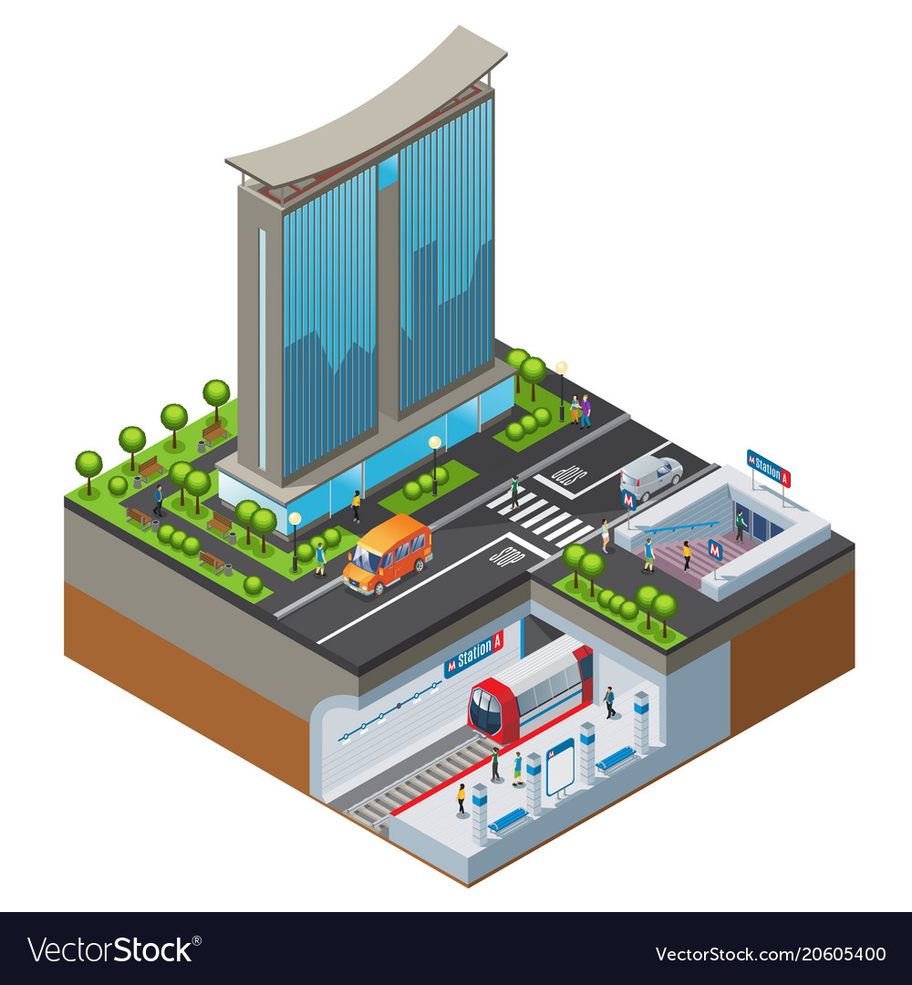 Isometric colorful cityscape concept vector image