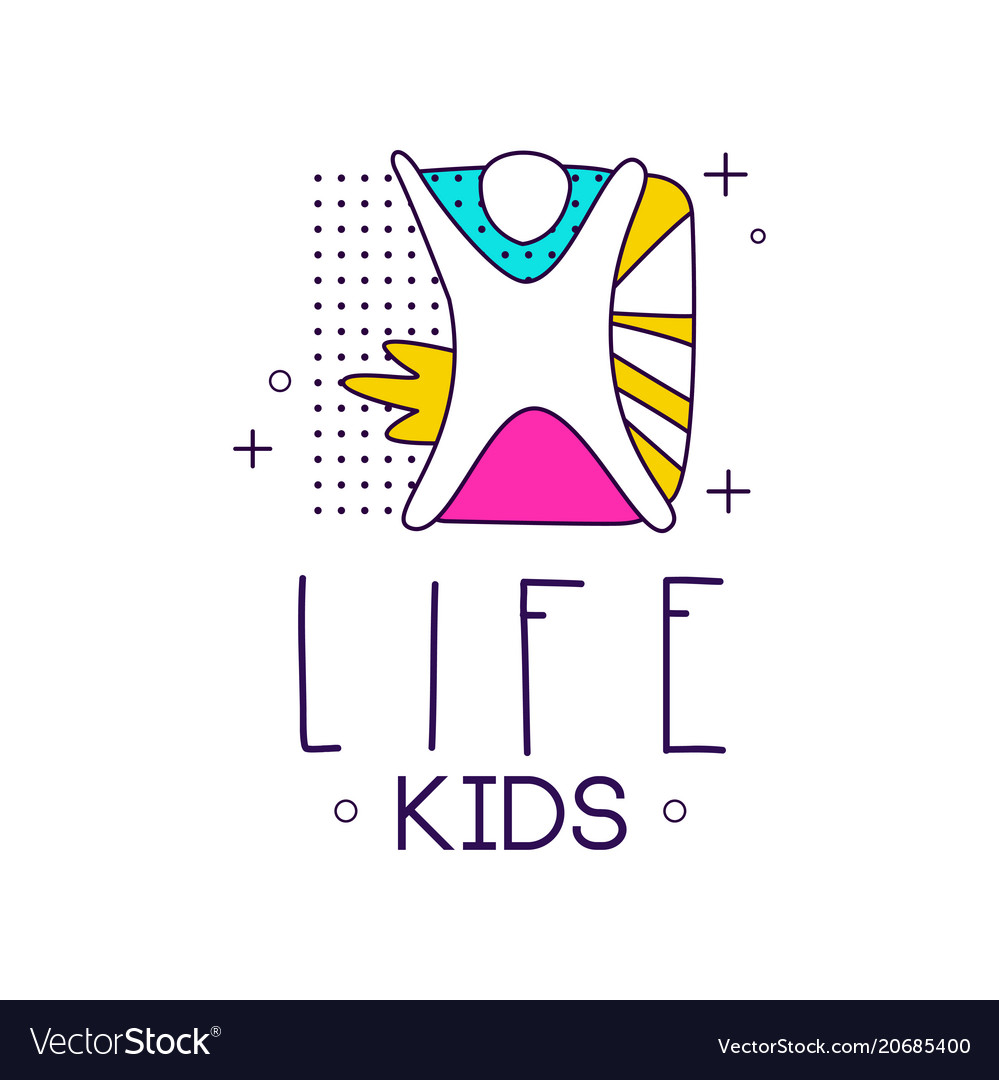 Kids life logo design element for kids club