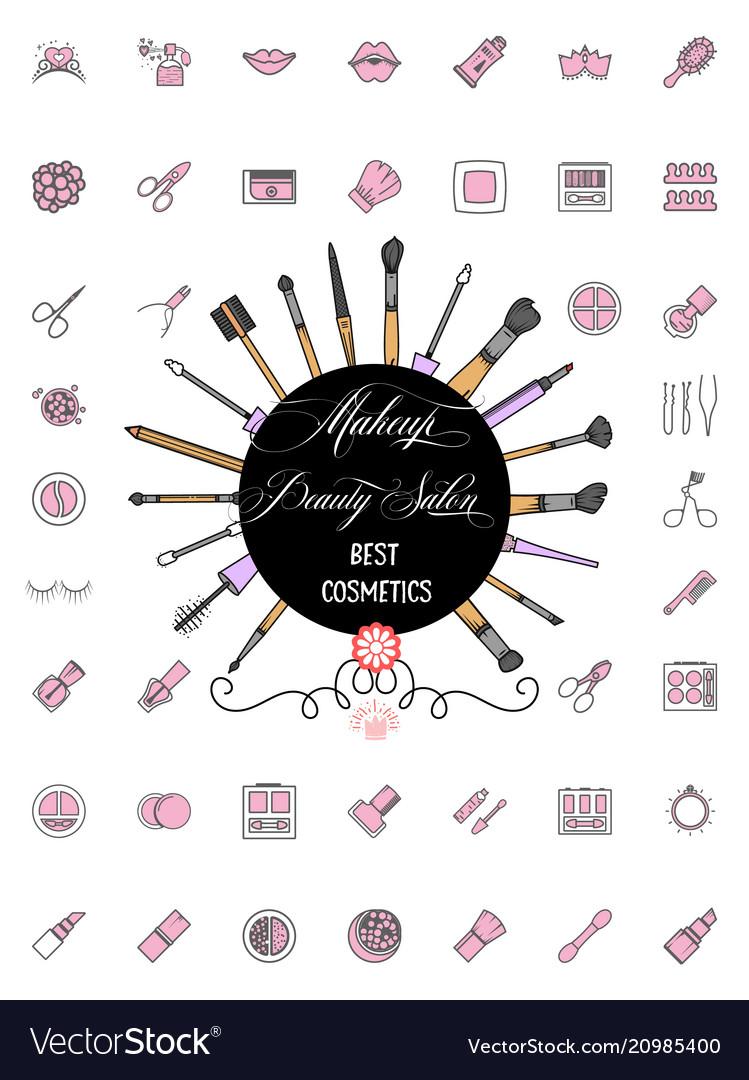 Minimalist icons cosmetics tools line art style