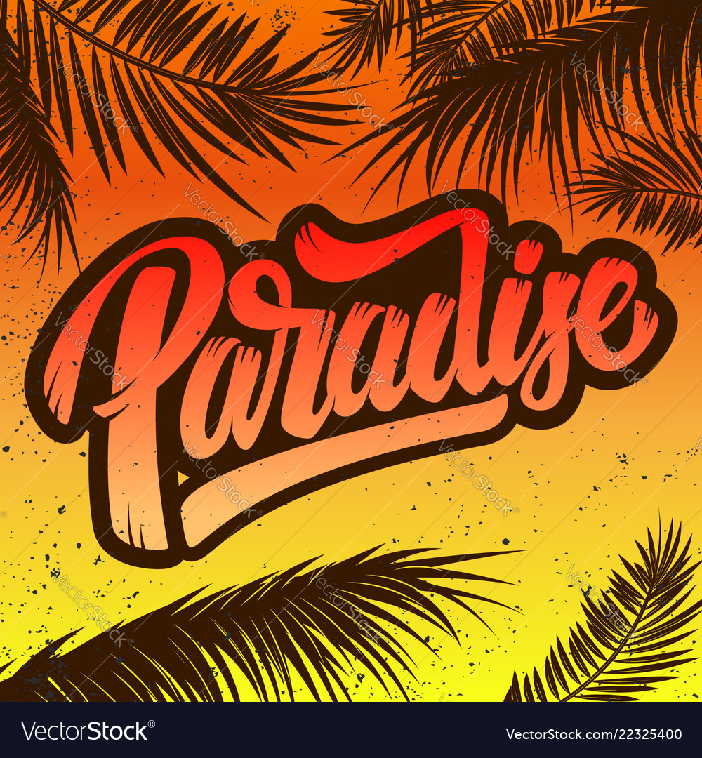 Paradise poster template with lettering and palms