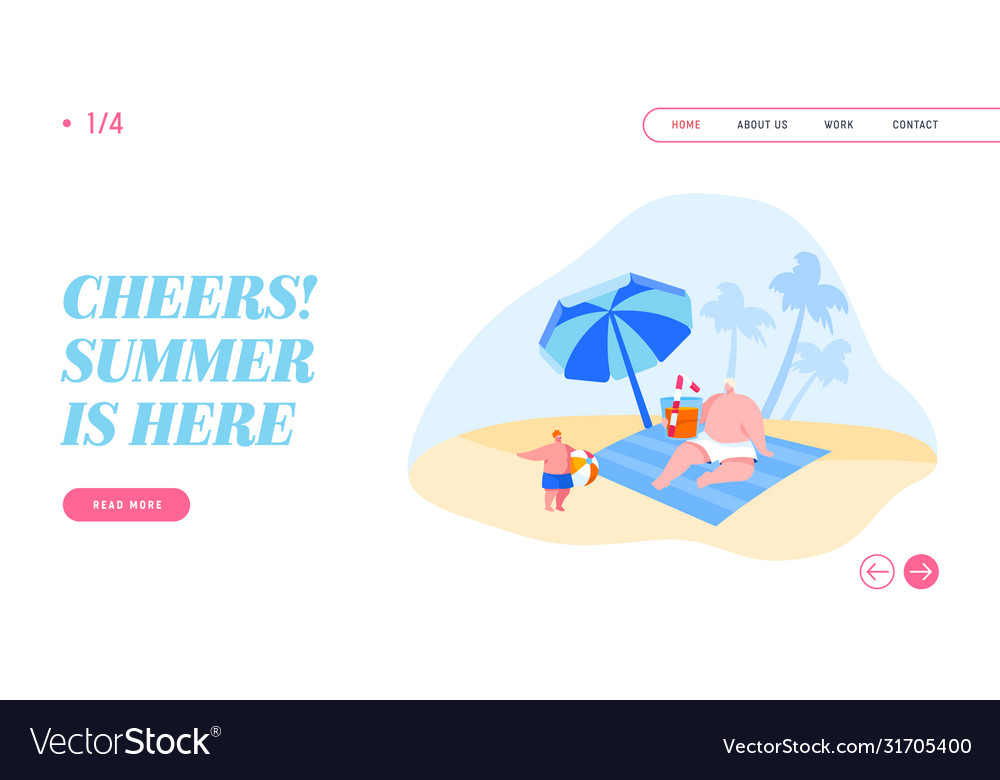 People on tropical resort landing page template