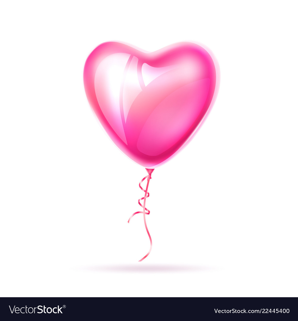 Realistic heart shape pink balloon love