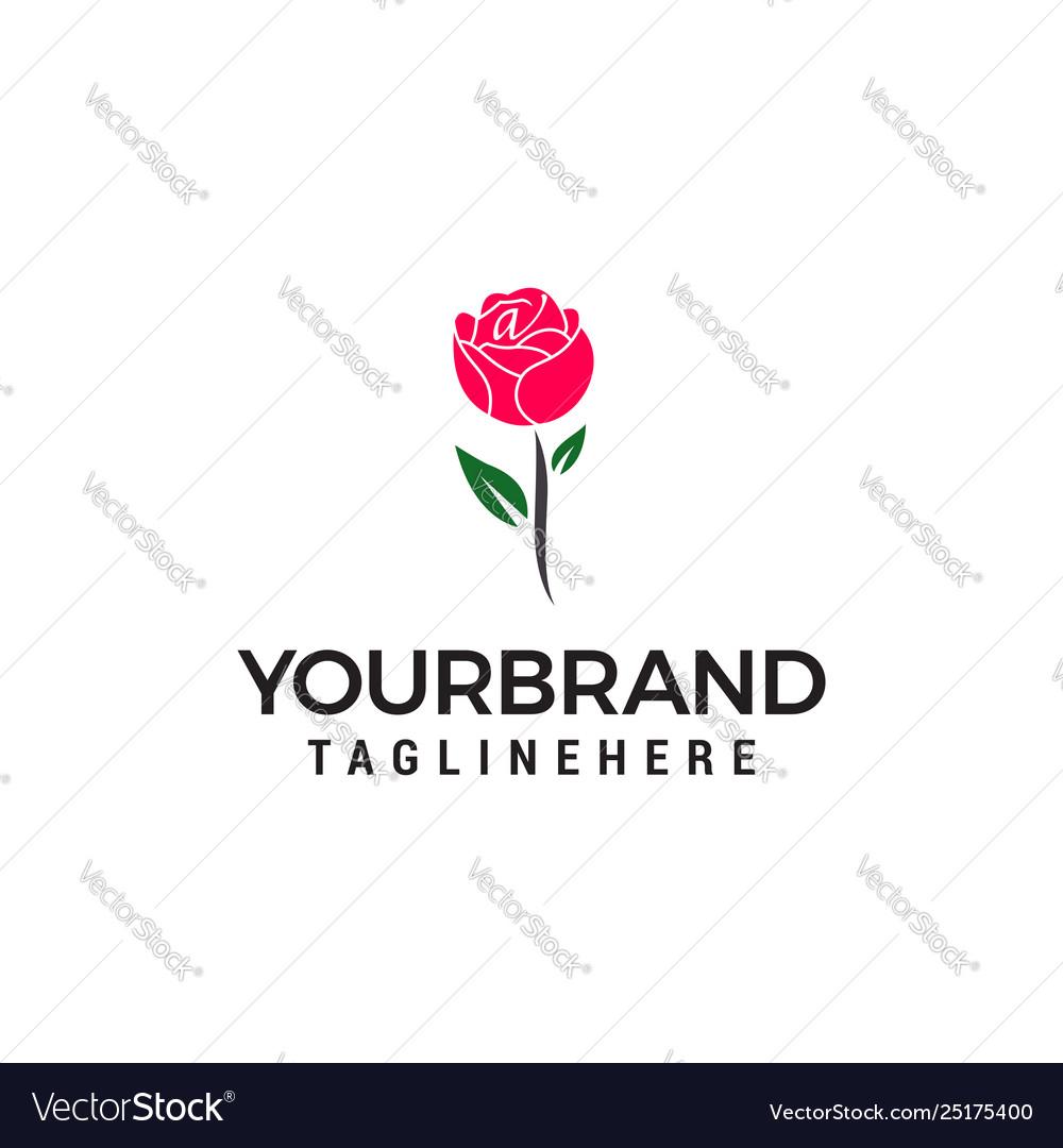 Rose logo design concept template