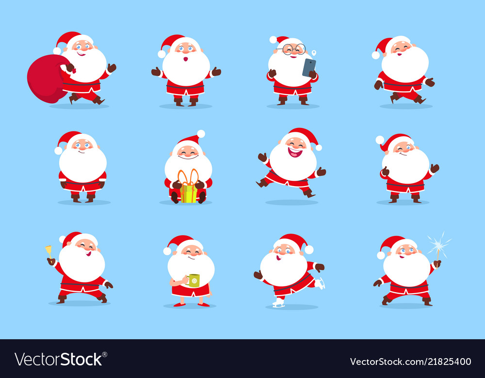 Santa claus cartoon christmas fun character set
