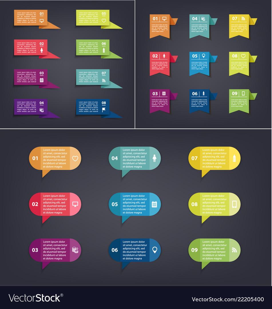 Set business tags colorful bubbles