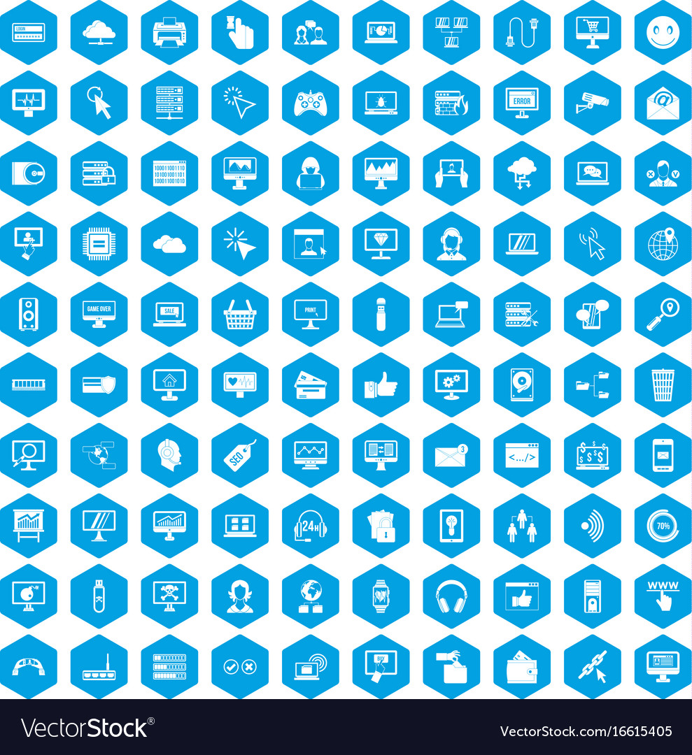 100 internet icons set blue vector image