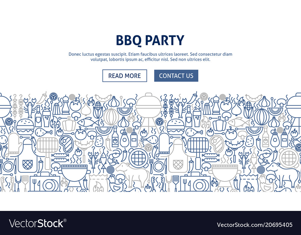 Bbq party banner design vector image