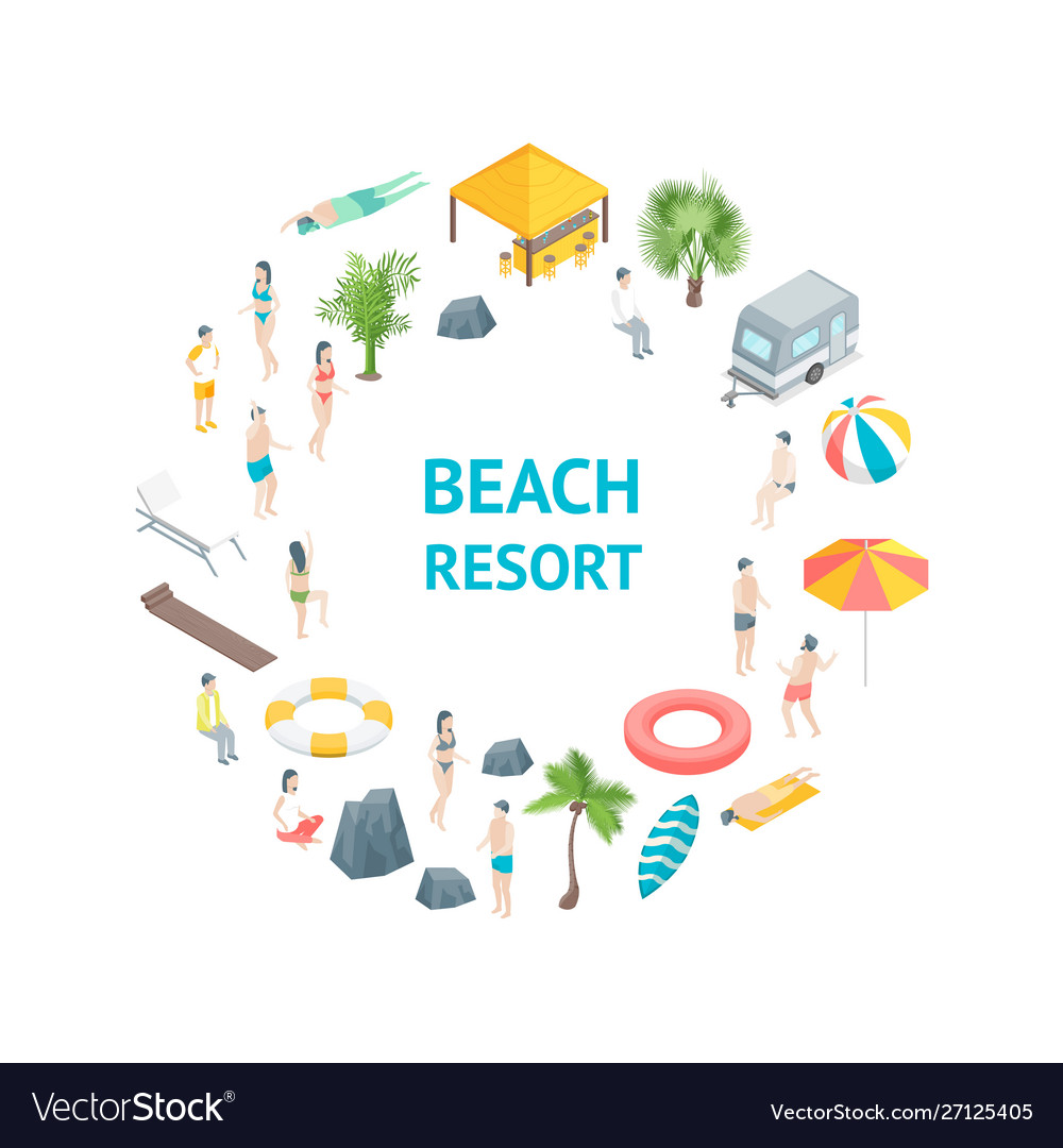 Beach rest concept banner card circle 3d isometric