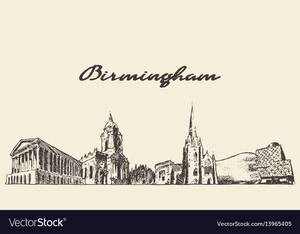 Birmingham skyline west england draw sketch