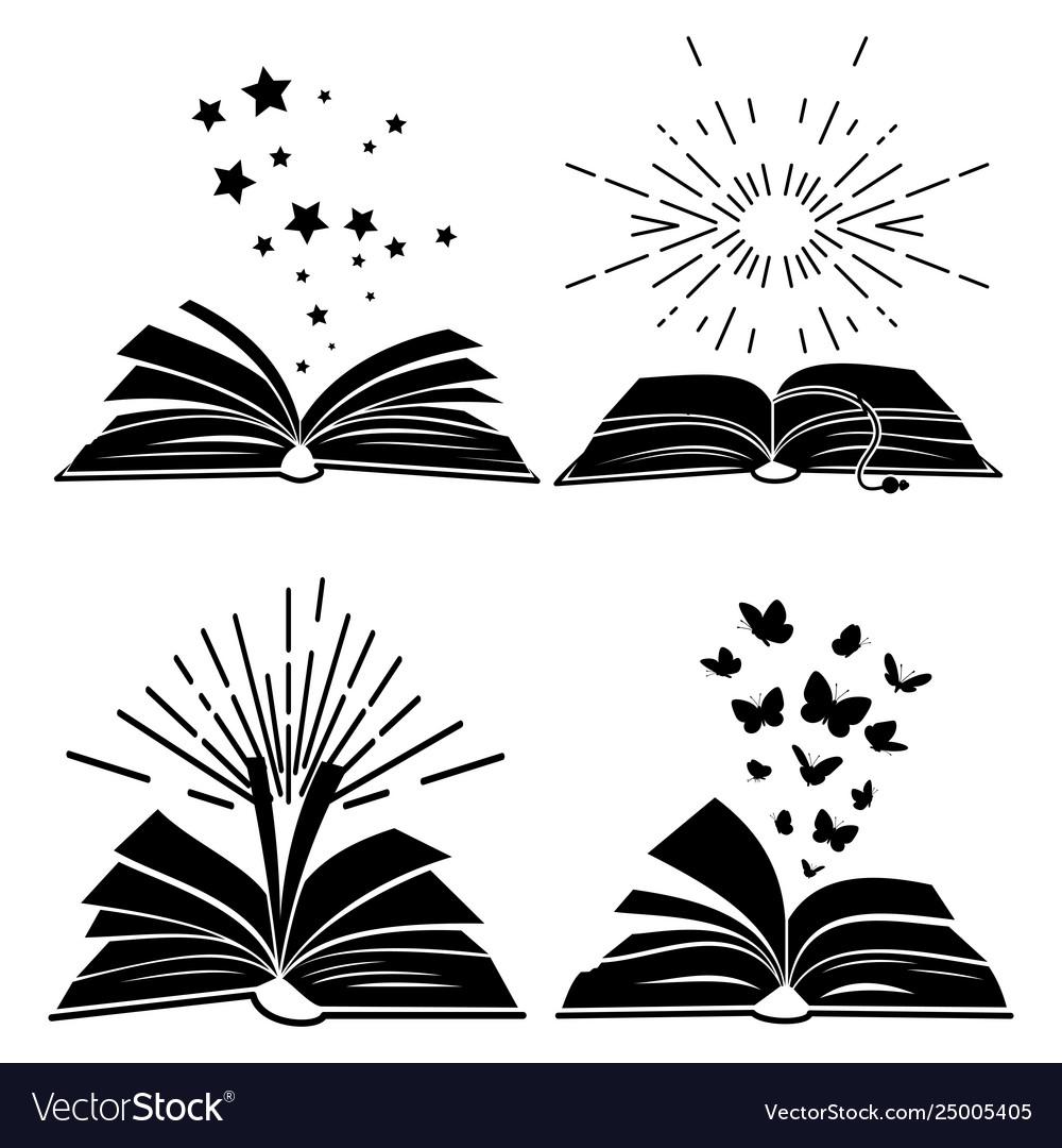 Black books silhouettes