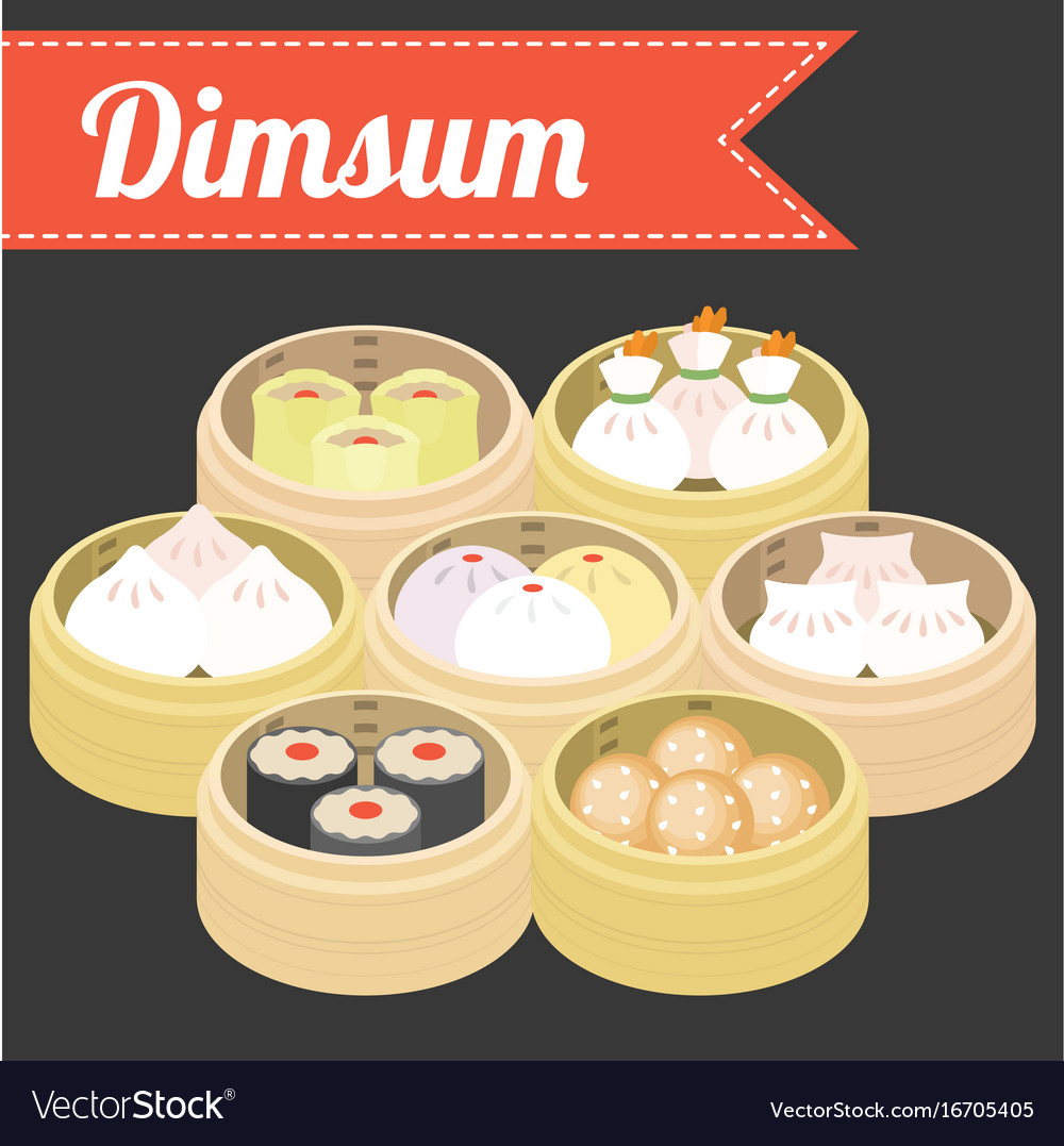 chinese food dim sum royalty free vector image vectorstock