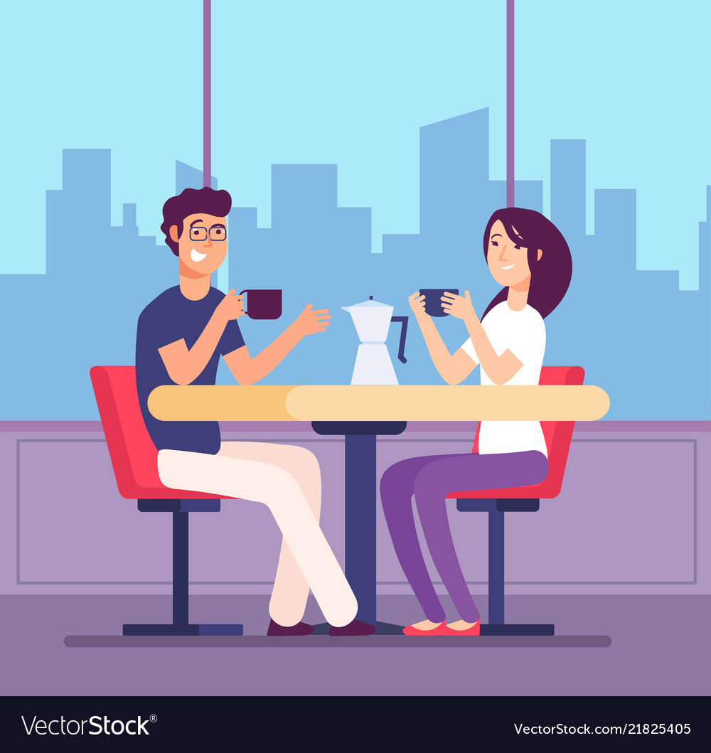 Couple drinking coffee flirting woman and man at