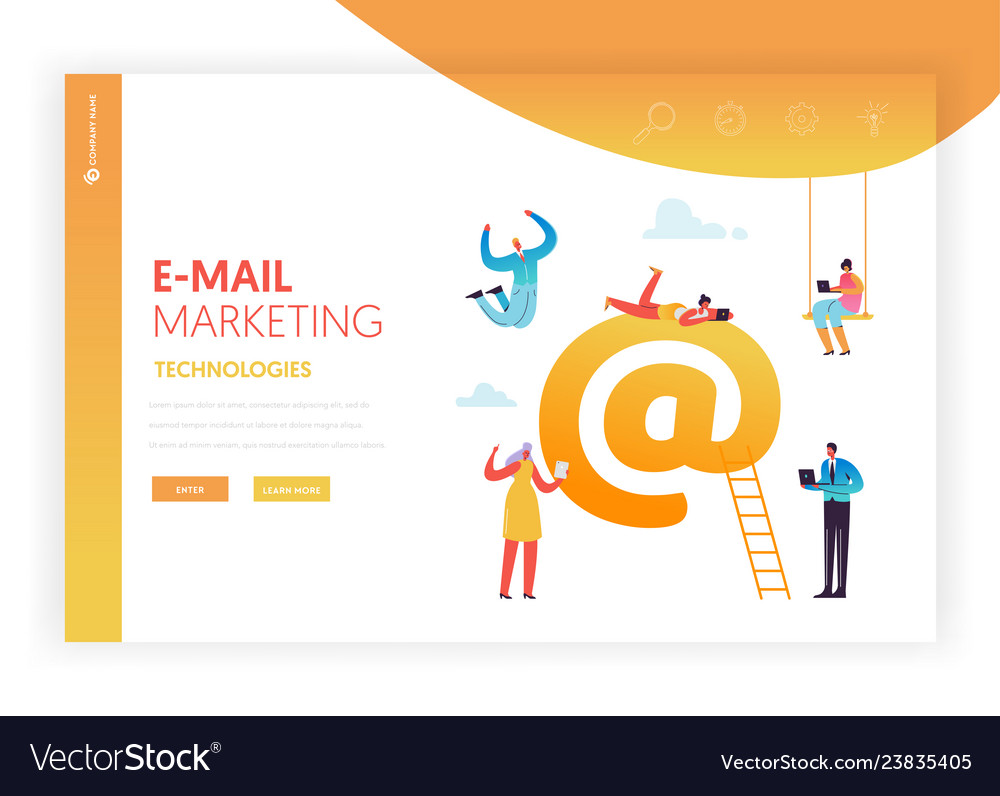E-mail marketing concept landing page template