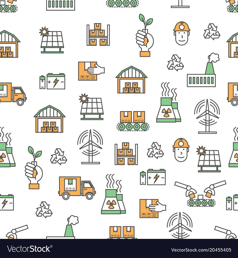 Flat line art ecological factory seamless