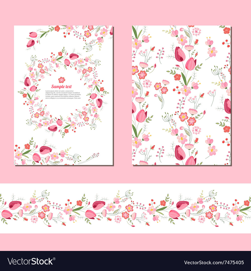 Floral spring templates with cute bunches of red vector image mightylinksfo
