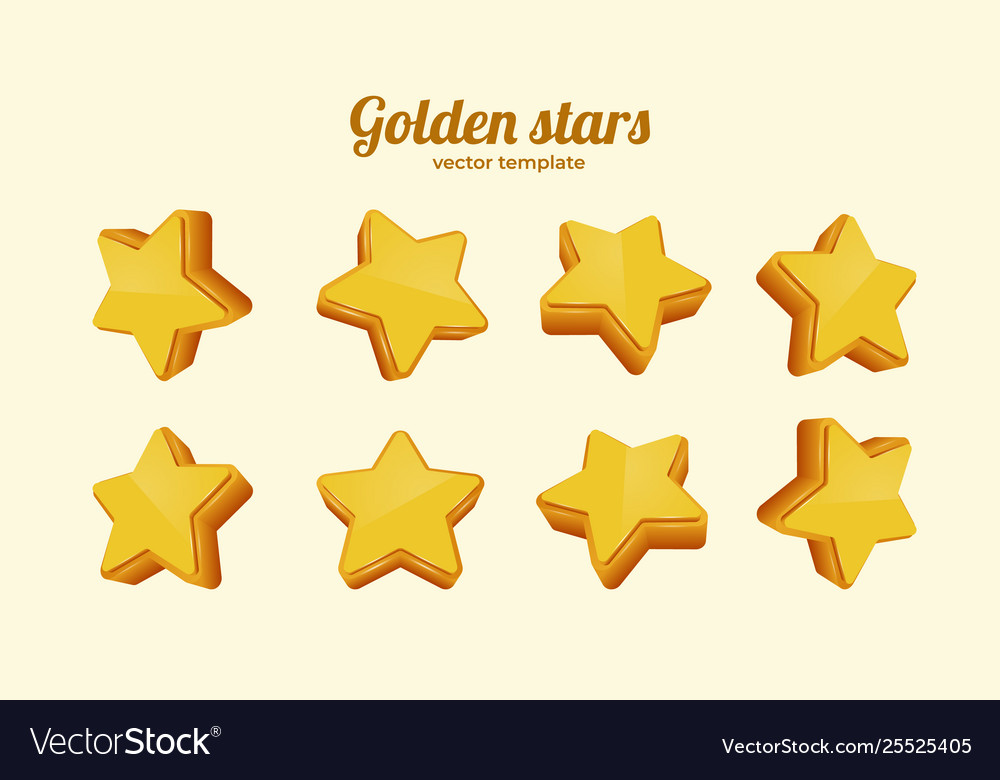 Golden stars in different positions collection